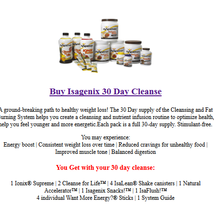 30 day Isagenix cleanse program